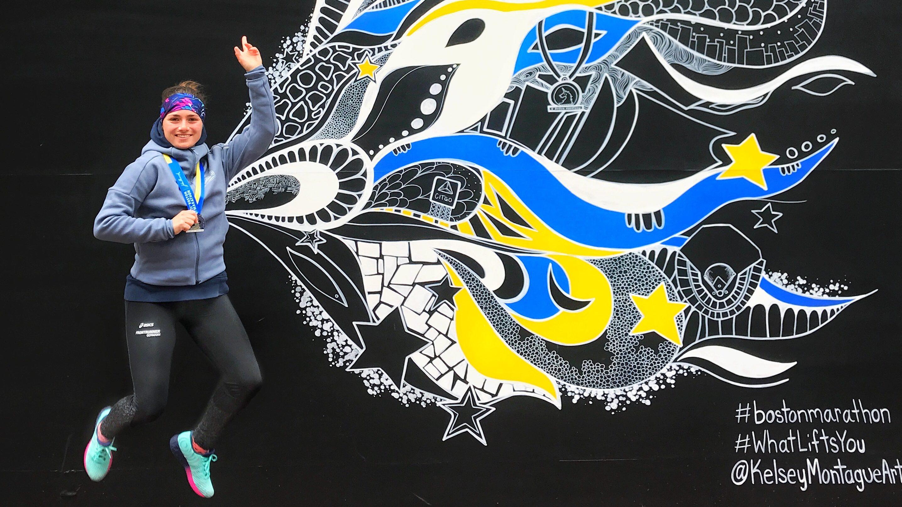 Achilles Running Autorin Susi beim Boston Marathon 2018